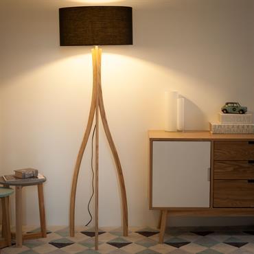 Lampadaire trépied en bois et coton H 161 cm SVEN