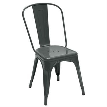 Chaise empilable A / Acier - Couleur brillante - Tolix Gris brillant