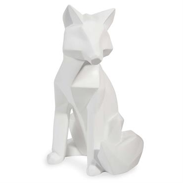 Statuette renard blanc H26
