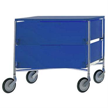 Caisson à roulettes Mobil / 2 tiroirs - Kartell bleu en matière plastique