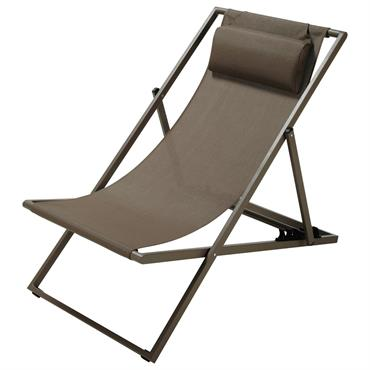 Chaise longue / chilienne pliante en métal taupe Split