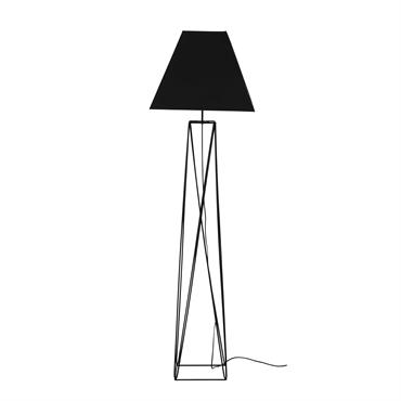 Lampadaire en métal et abat-jour en coton noir H163