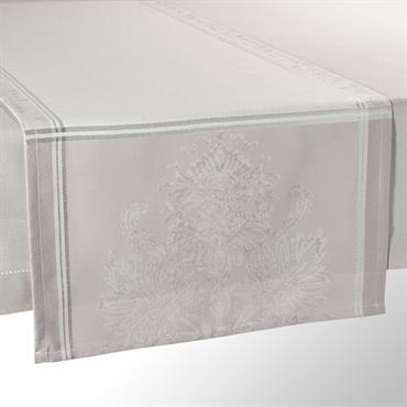 Chemin de table en tissu gris L 150 cm PALACE