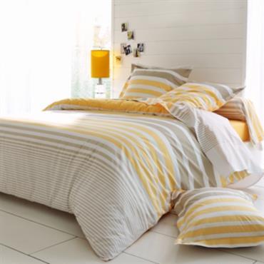 Parure de lit percale Stripe Narcisse TRADILINGE