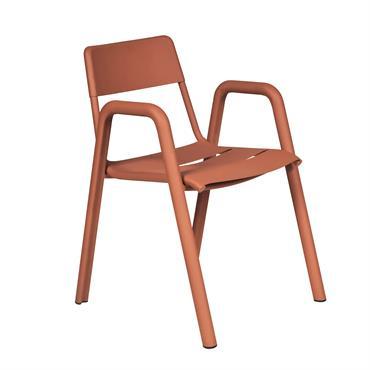 Chaise aluminium empilable brun cuivré