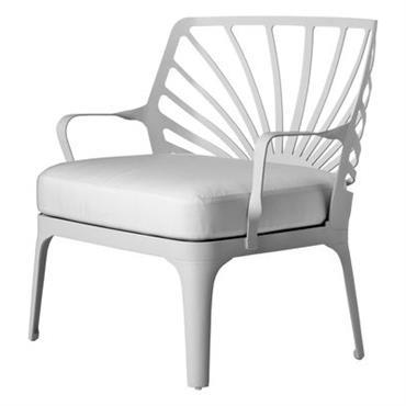 Fauteuil bas Driade Design Blanc Métal Larg 79 cm x Prof 60 cm x H 75 cm - Assise : H 42 cm - Accoudoirs : H 52 cm Le ...