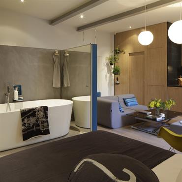 Salle de bain ouverte dans le studio