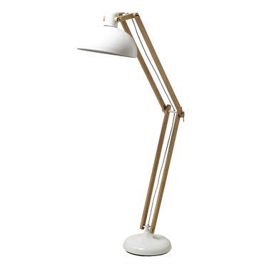 Lampadaire en bois et métal blanc H 163 cm ICE