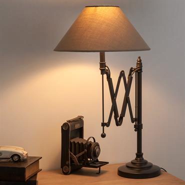 Lampe de chevet accordéon en métal et abat-jour en coton H 63