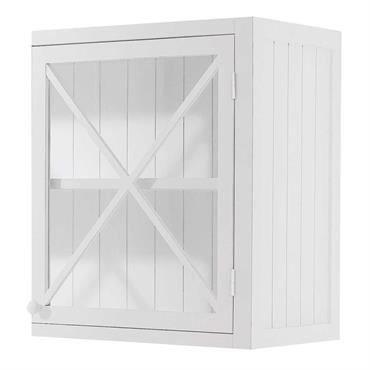 Meuble haut de cuisine 1 porte vitrée poignée à gauche blanc Newport