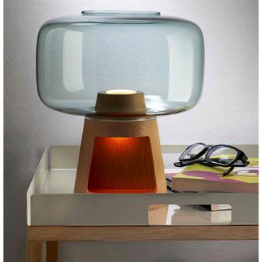 Lampe de chevet en bois et cristal