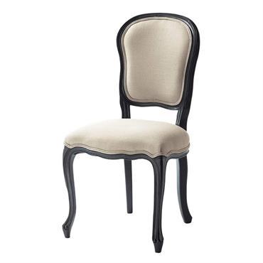 Chaise en lin et bois écrue et noire Versailles