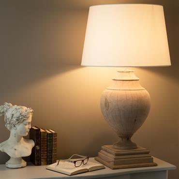 Lampe en manguier et abat-jour en coton blanc H 90 cm MONTAIGNE