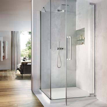 Nouveau cabine de douche avec porte pivotante.