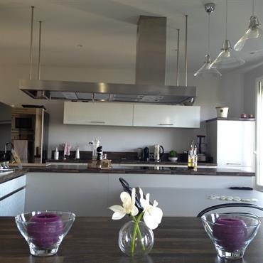 Création d'une cuisine gourmet avec ouverture sur salon - style loft