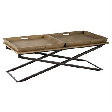 Table basse en manguier et métal L 120 cm Hippolyte