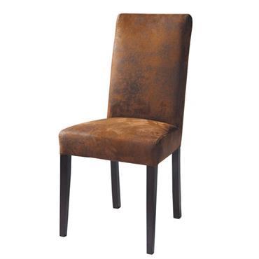 Chaise en microsuède marron Arizona