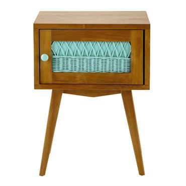 Table de chevet vintage en bois et rotin vert d'eau L 43