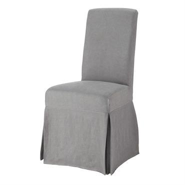 Housse longue de chaise en lin lavé grise Margaux