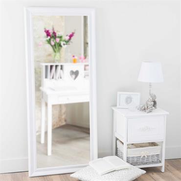 Miroir en bois de paulownia blanc H 125 cm EMELINE