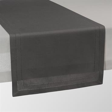 Chemin de table uni en coton anthracite L 150 cm