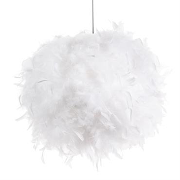 Abat-jour pour suspension en plumes blanches