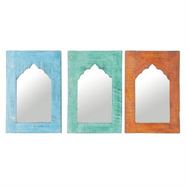 3 miroirs en manguier multicolores H 41 cm KURTI