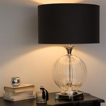 Lampe en verre abat-jour en coton anthracite