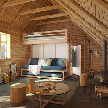 La mezzanine Attique ambiance Chalet Avec ses multiples solutions de couchages l'Attique associée au lit gigogne convient parfaitement à la résidence secondaire des vacances à la montagne ! Des lieux souvent ...