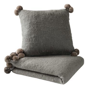 Jeté à pompons en laine gris 130 x 170 cm POMPONE