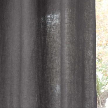 Rideau à illets en lin lavé gris à l'unité 130x300