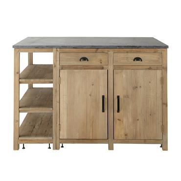 Pour créer une ambiance chaleureuse dans votre cuisine, choisissez l'îlot central Pagnol. Ce meuble de cuisine en bois recyclé est surmonté d'un généreux plan de travail en pierre bleue anthracite. ...