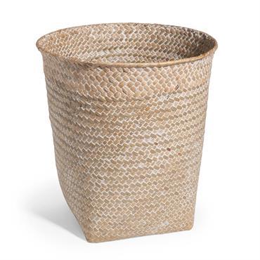 Corbeille à papier tressée en fibre végétale blanchie H 27 cm