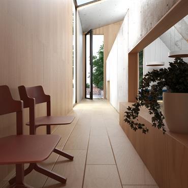 Couloir tout en bois et mur en béton brut