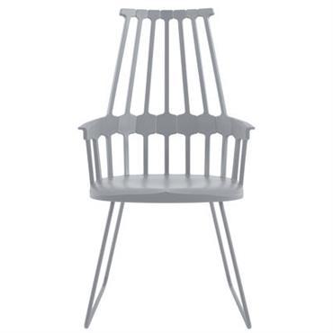Chaise Comback / Polycarbonate & pied luge métal - Kartell