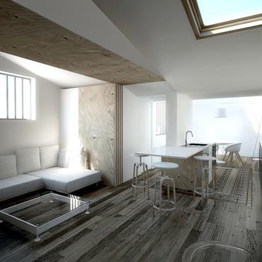 Grand salon  blanc et bois ouvert sur la cuisine ,réalisation 3D du projet