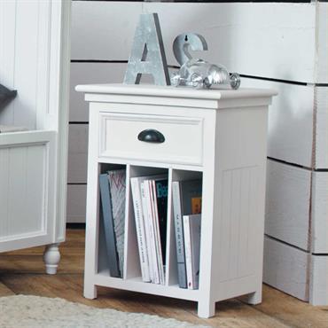 Table de chevet avec tiroir en bois blanche L 45 cm Newport