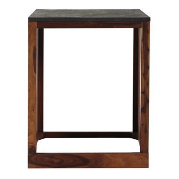 Ce meuble de cuisine en bois de sheesham massif a été conçu pour recevoir un lave-vaisselle. Surmonté d'un plateau en pierre indienne à l'aspect ardoise, ce meuble pour lave-vaisselle se ...