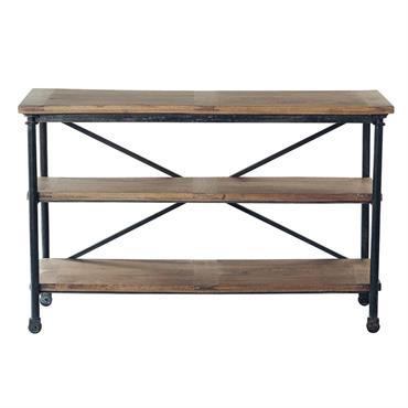 Table console à roulettes en métal et manguier massif noire L 130