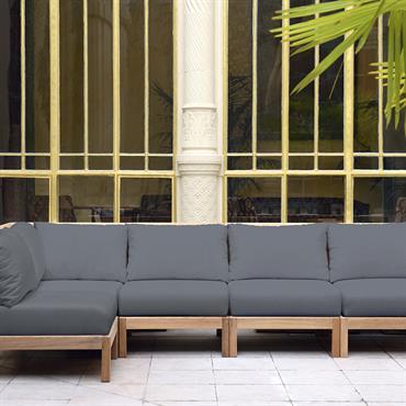 Canapé d'angle gris en teck et tissu