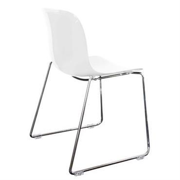 Chaise empilable Troy / Plastique & pied luge - Magis blanc