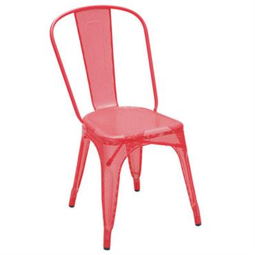 Chaise empilable A perforée / Couleur brillante - Tolix rouge brillant en métal