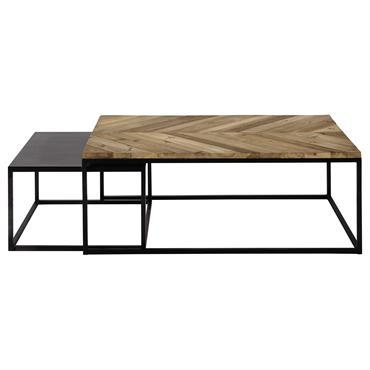 2 tables basses gigognes en bois recyclé et métal L 60 cm