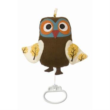 Mobile musical Owl music mobile - Ferm Living brun en tissu