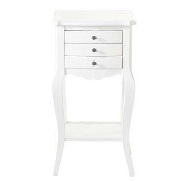 Table de chevet avec tiroirs en bois blanche L 37 cm Séraphine