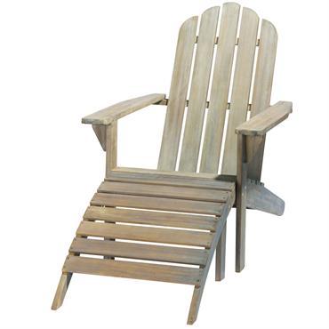 Chaise longue en acacia grisée Ontario