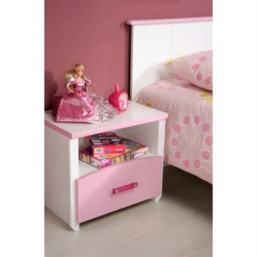 Chevet 1 niche 1 tiroir Candice rose