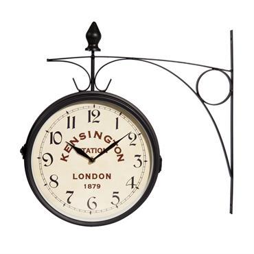 Horloge de gare en métal noir 42x24