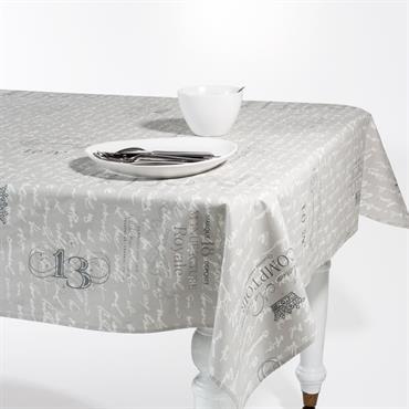 Nappe enduite en lin grise 140 x 250 cm MANUFACTURE ROYAL