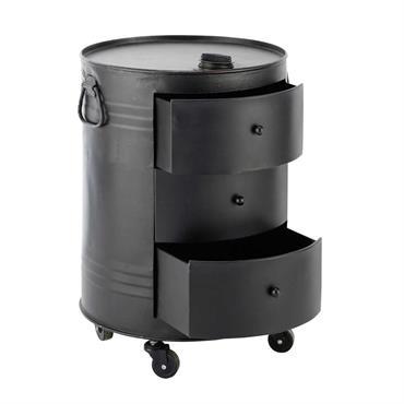 Bout de canapé bidon en métal noir L 42 cm CLARK